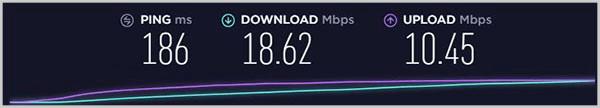Test de vitesse montrant-Windscribe-UK-Server-Speed
