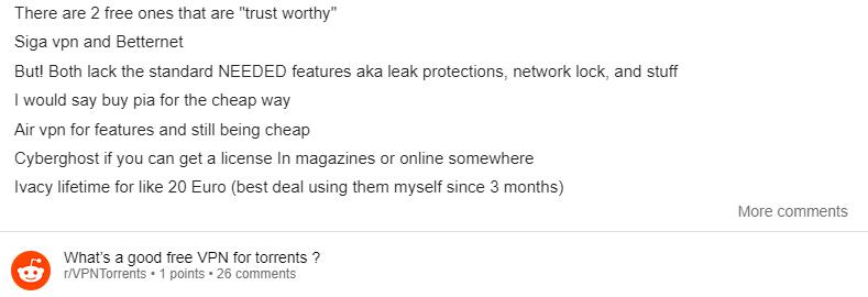 VPN gratis para torrent reddit