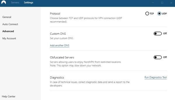 NordVPN-diagnostics