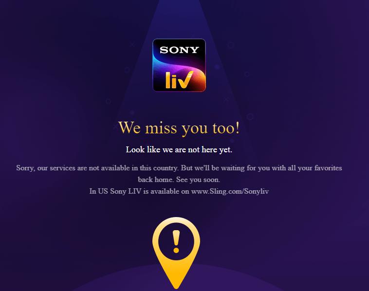 SonyLIV error message - Sony Liv Not Working With Vpn