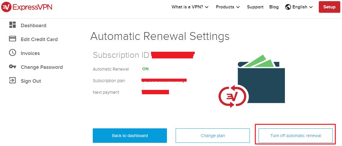 ExpressVPN account subscription auto renewal