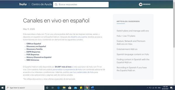 hulu canales en espanol