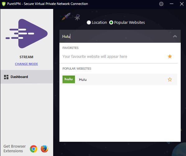 Selecting PureVPN Hulu server